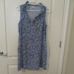 Crown & Ivy Casual Dress Blue White Print Small
